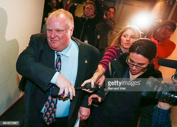 TORONTO ON JANUARY 23 Mayor Rob Ford grabs the microphone from CHCH reporter Elise Copps and later grabs the camera of Fairchild cameraman Tai Lam...