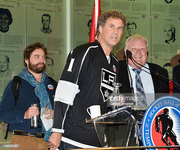 Mayor Rob Ford joins Will Ferrell and Zach Galifianakis as they visit the Hockey Hall of Fame to promote their new movie 'The Campaign' on July 30...