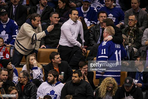 Mayor Rob Ford sitting in the seats behind the San Jose Sharks bench talking with fans durint the 3rd period as the Toronto Maple Leafs take on the...