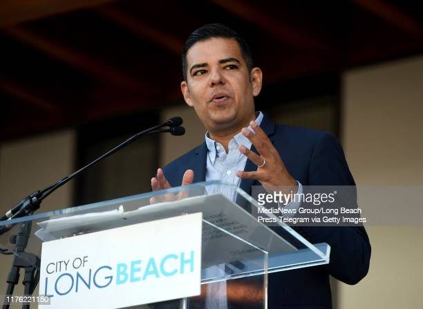 Mayor Robert Garcia speaks at the grand opening of the new Billie Jean King Main Library, a 92,500-square-foot LEED Gold-certified building that...