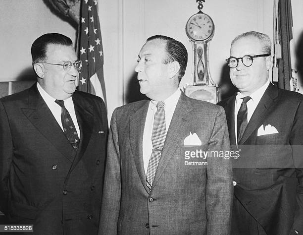 Mayor Robert Wagner has a twosided problem to deal with as he confers with Brooklyn Dodgers president Walter O'Malley and New York Giants president...