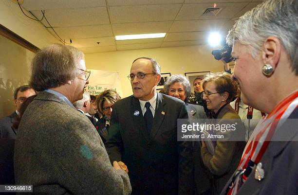 Mayor Rudy Giuliani shakes hands with Dr Michael Tapper after the reopening of the Manhattan Eye Ear and Throat Hospital due to the anthrax scare in...