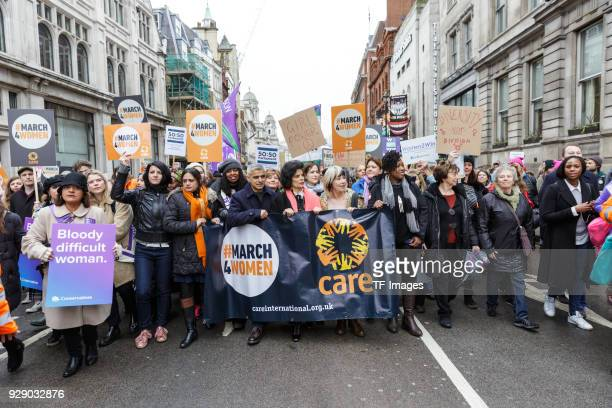 Mayor Sadiq Khan Sandi Tonsvik and Bianca Jagger attend a march calling for gender equality organised by Care International on March 4 2018 in London...