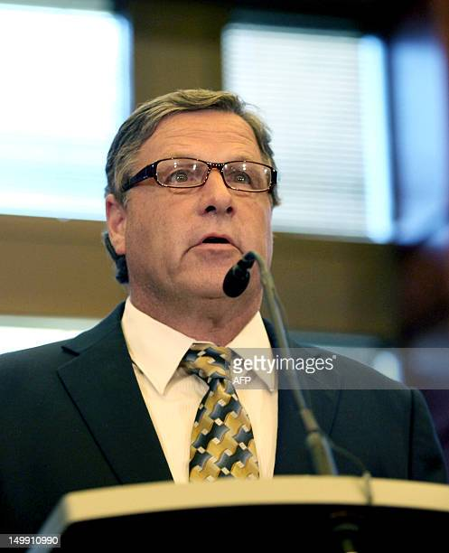Mayor Steve Scaffi speaks at a press conference August 6 2012 in Oak Creek Wisconsin about the shootings Sunday at the Sikh Temple of Wisconsin The...