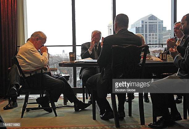 Mayor Thomas Menino lets his staff know that he will not seek reelection From left to right are Menino Peter Meade head of the BRA William Sinnott...