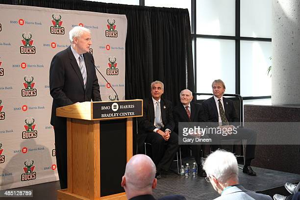 Mayor Tom Barrett Milwaukee Bucks president and owner Herb Kohl introduces new owners Marc Lasry and Wesley Edens at a press conference on April 16...