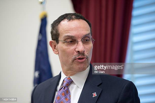 Mayor Vincent Gray speaks during the news conference to oppose Republican riders targeting DC's homerule authority on Tuesday May 29 2012