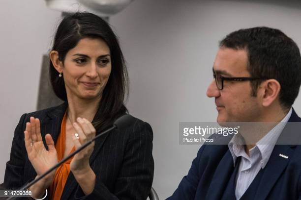 Mayor Virginia Raggi at the press conference on the itinerant trade