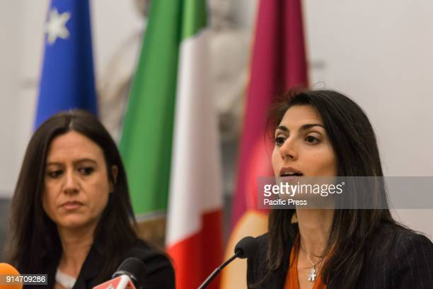 Mayor Virginia Raggi speaking at the press conference on the itinerant trade