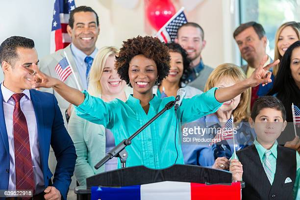 mayoral candidate addresses supporters at rally - mayor stock pictures, royalty-free photos & images