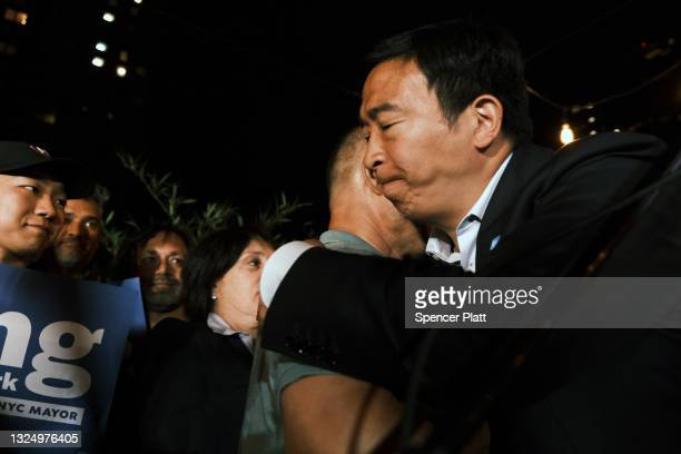 Mayoral candidate Andrew Yang greets supporters at a Manhattan hotel as he concedes in his campaign for mayor on June 22, 2021 in New York City....
