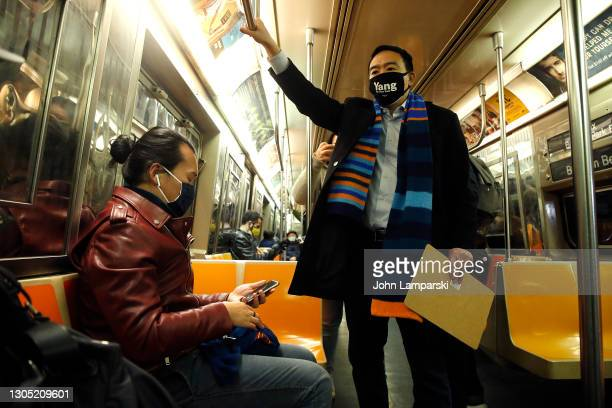 Mayoral Candidate Andrew Yang rides the subway following his appearance at Barcalys Center on March 03, 2021 in the Brooklyn borough of New York City.
