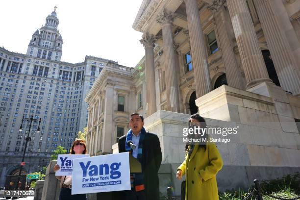 Mayoral candidate Andrew Yang speaks at a press conference at Tweed Courthouse in Manhattan on May 11, 2021 in New York City. Yang was joined by a...