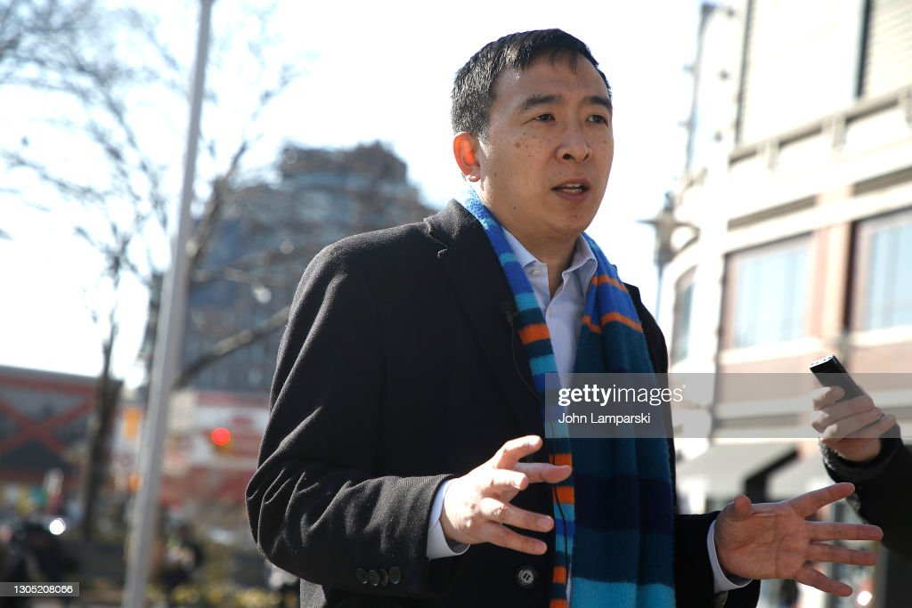 NYC Mayoral Candidate Andrew Yang Campaigns Outside Of The Barclays Center : News Photo