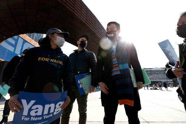 NY: NYC Mayoral Candidate Andrew Yang Campaigns Outside Of The Barclays Center