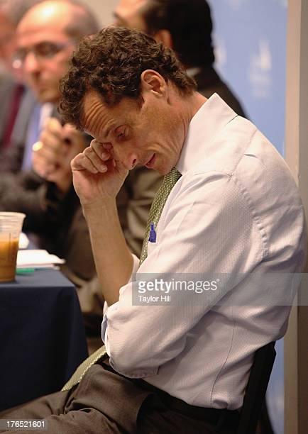 Mayoral candidate Anthony Weiner attends The New York City Mayoral Forum on Cultural Sensitivity Tolerance at the Museum of Tolerance on August 14...
