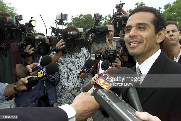 Mayoral Candidate Antonio Villaraigosa talks with reporters after casting his ballot at a polling station in Mounth Washington Los Angeles 05 June...