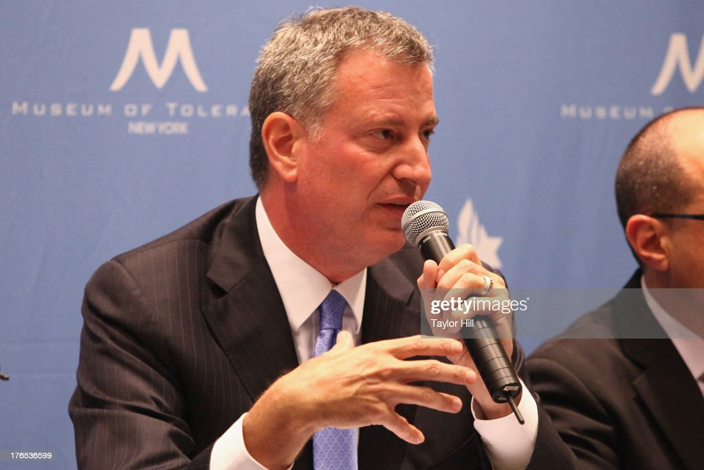 Mayoral candidate Bill de Blasio attends The New York City Mayoral Forum on Cultural Sensitivity & Tolerance at the Museum of Tolerance on August 14, 2013 in New York City.