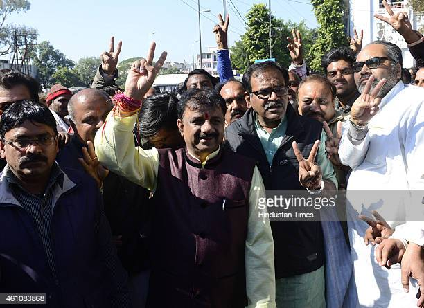 Mayoral candidate for Bhopal, Alok Sharma coming out after filing his nomination at the collectorate on January 6, 2015 in Bhopal, India. Elections...