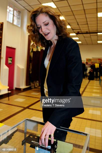 Mayoral Candidate for the Paris municipal elections Nathalie KosciuskoMorizet poses before casting her ballot in the second round of the French...