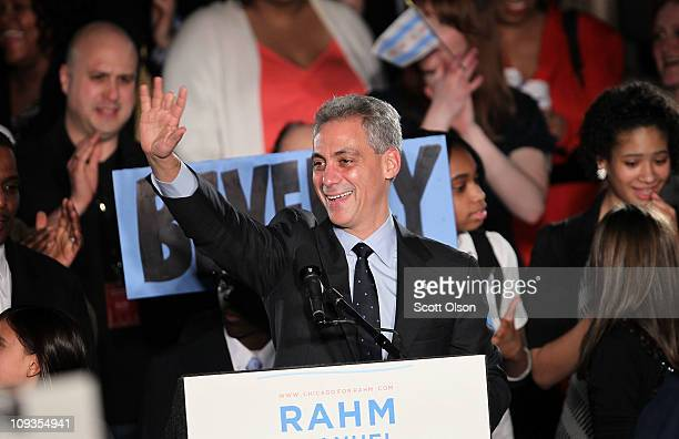 Mayoral candidate Rahm Emanuel celebrates with supporters at the Journeymen Plumbers' Union Local 130 Hall after winning the mayoral election...