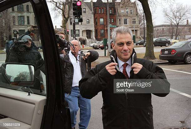 Mayoral candidate Rahm Emanuel leaves Chicago's Home of Chicken and Waffles restaurant following a campaign stop and lunch February 21 2011 in...