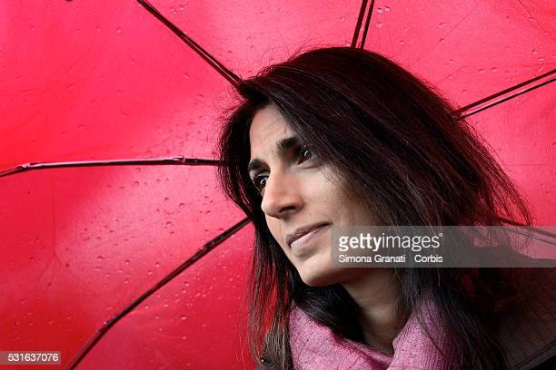 Mayoral candidate Virginia Raggi of the 5 Star Movement meets citizens as she campaigns in the Tor Sapienza suburb on May 14 2016 in Rome Italy