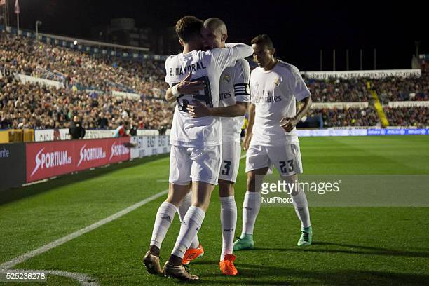 Mayoral celebrates his goal during la liga match between Levante UD and Real Madrid CF at Ciutat de Valencia Stadium in Valencia on March 2 2016