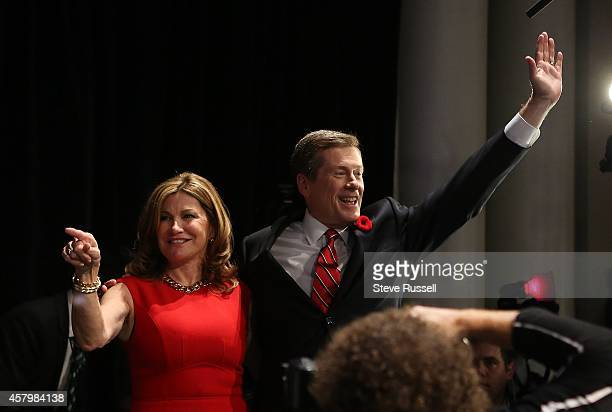 TORONTO ON OCTOBER 27 Mayoral front runner John Tory takes to the stage at the Liberty Grand with his wife Barbara Hackett after winning the...
