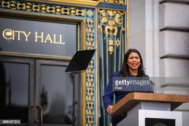 Mayorelect London Breed practices her speech outside City Hall ahead of the mayoral inauguration July 11 2018 in San Francisco California