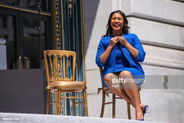 Mayorelect London Breed smiles moments before taking the oath of office outside City Hall July 11 2018 in San Francisco California