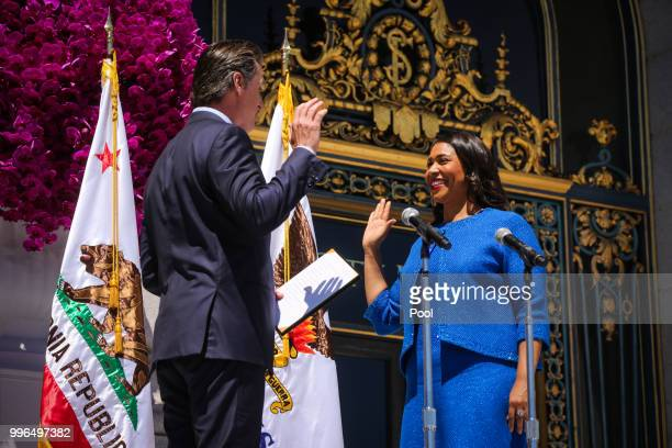 Mayorelect London Breed takes the oath of office outside City Hall July 11 2018 in San Francisco California