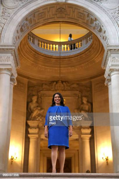 Mayorelect London Breed waits inside city hall prior to her inauguration ceremony July 11 2018 in San Francisco California