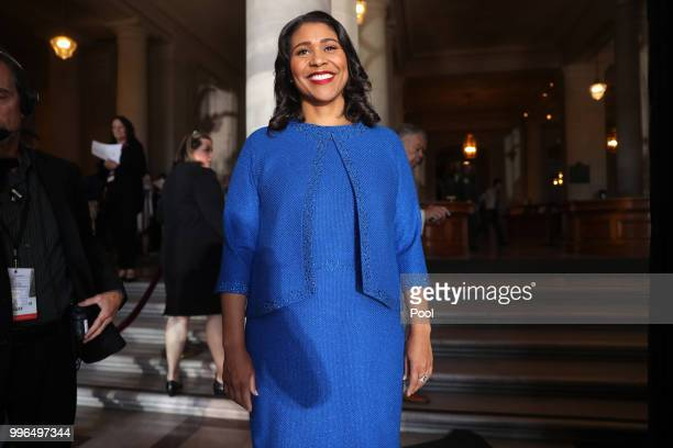 Mayorelect London Breed waits to walk out of City Hall for her inauguration July 11 2018 in San Francisco California