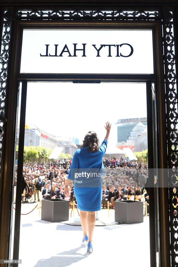 Mayor-elect London Breed walks out of City Hall for her inauguration July 11, 2018 in San Francisco, California.