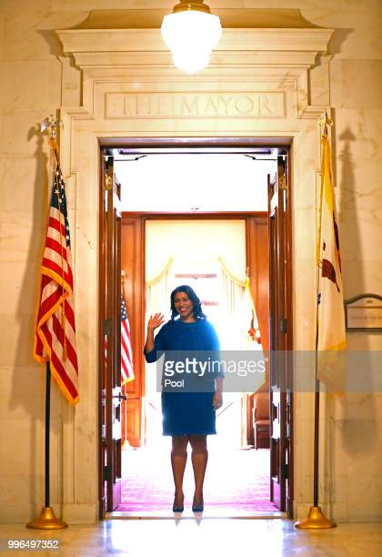 Mayorelect London Breed waves at a wellwisher as she leaves the mayor's office before her inauguration at City Hall July 11 2018 in San Francisco...