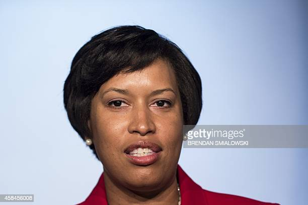 DC MayorElect Muriel E Bowser speaks to the press about her victory in last night's mayoral election November 5 2014 in Washington DC Ward 4 Council...