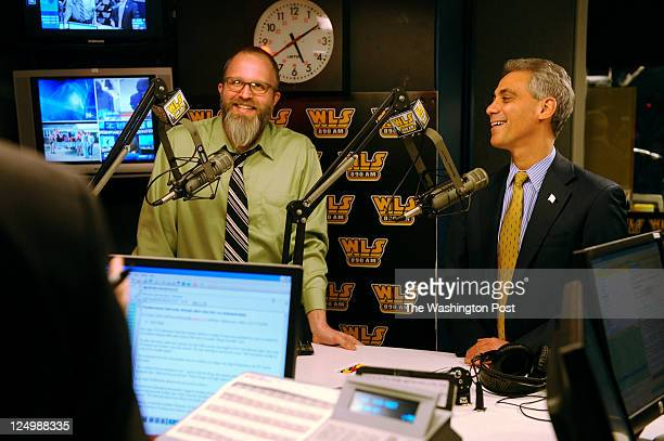 Mayorelect Rahm Emanuel meets Twitter impersonator Dan Sinker and presents him with a $5000 check which will go to charity on WLSAM's Roe Conn Show...