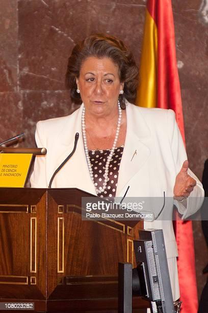 Mayoress of Valencia Rita Barbera speaks during 'Ciudad de la Ciencia y la Innovacion' Awards at CSIC Central Office on January 13 2011 in Madrid...