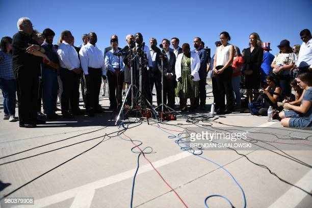 Mayors of US cities and activists protest at the Tornillo Port of Entry near El Paso, Texas, June 21, 2018 against the US administration's family...