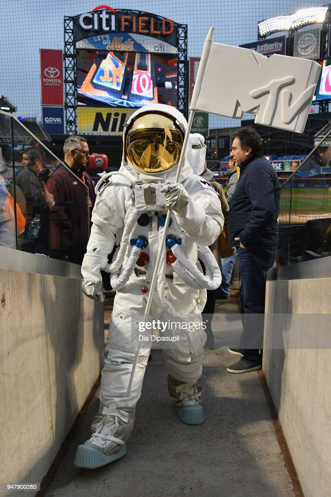 Mayor's Office of Media and Entertainment Commissioner Julie Menin today joined the iconic VMA Moon Person (pictured) and Bruce Gillmer, Global Head of Music/Talent, Co-Brand Lead, MTV International to throw the first pitch at Citi Field. The 2018 'MTV VMAs' will air live on Monday, August 20 from Radio City Music Hall.