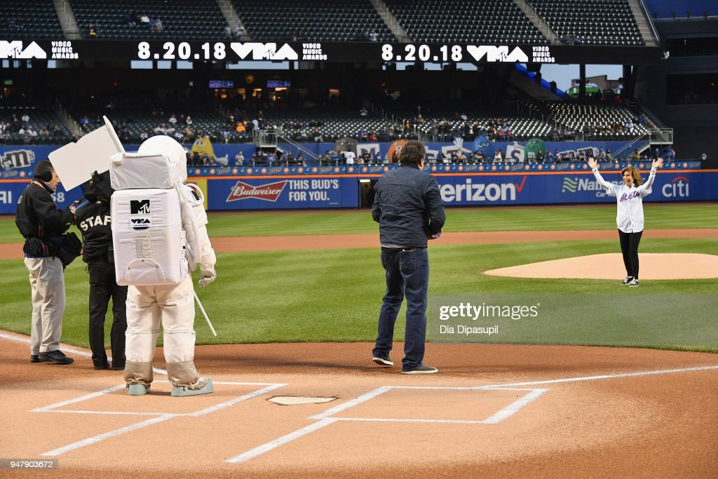 Mayor's Office of Media and Entertainment Commissioner Julie Menin today joined the iconic VMA Moon Person and Bruce Gillmer, Global Head of Music/Talent, Co-Brand Lead, MTV International to throw the first pitch at Citi Field. The 2018 'MTV VMAs' will air live on Monday, August 20 from Radio City Music Hall.