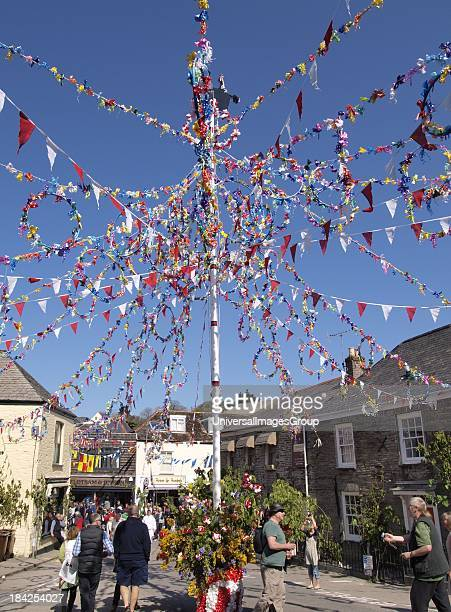 Maypole at the Padstow May Day 'Obby 'Oss Day Festival Cornwall UK