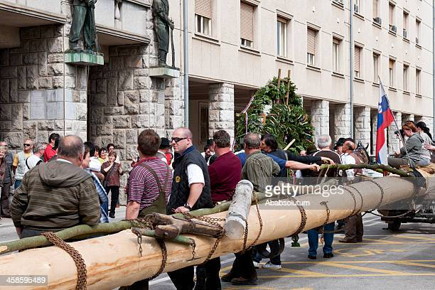 maypole before setting up nova gorica - slovenia stock pictures, royalty-free photos & images