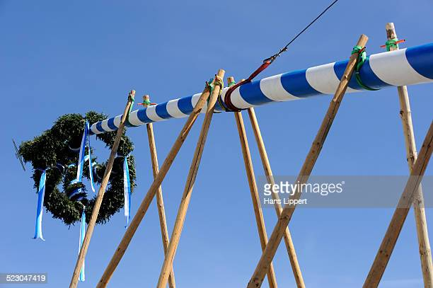 maypole being erected in gelting, district of bad toelz-wolfratshausen, upper bavaria, bavaria, germany, europe - maypole stock pictures, royalty-free photos & images
