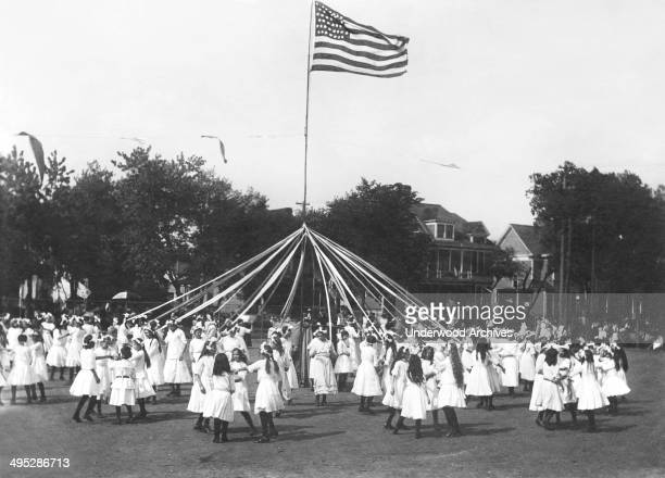 A Maypole dance at a school's May Day celebration Sacramento California circa 1895