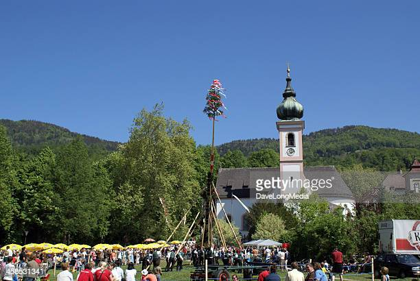 maypole festival in austria - maypole stock pictures, royalty-free photos & images
