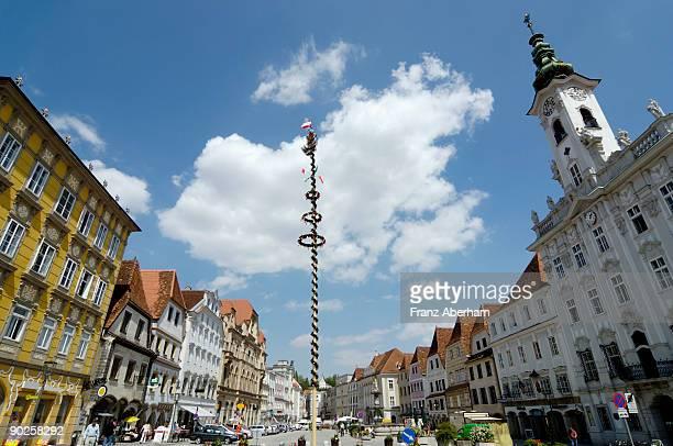 Maypole in town in Austria