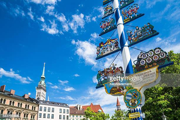 maypole of munich - maypole stock pictures, royalty-free photos & images