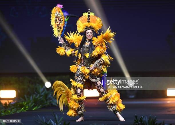 Mayra Dias Miss Brazil 2018 walks on stage during the 2018 Miss Universe national costume presentation in Chonburi province on December 10 2018
